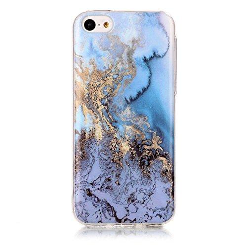 Lomogo iPhone 5C Hülle Silikon Marmor, Schutzhülle mit Marmormuster Stoßfest Kratzfest Handyhülle Case für Apple iPhone5C - YIHU23763#6 (Iphone 5c Fällen Mit Geld)