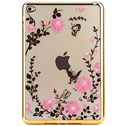 iPad Mini 4 Hülle,iPad Mini 4 Schutzhülle,iPad Mini 4 Case Durchsichtig Malerei Schmetterling Blumen Rebe Muster Glänzend Glitzer Kristall Strass Diamanten Transparent TPU Silikon Schutz Handy Hülle Bundle Reben