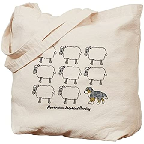 CafePress–Cartoon Australian Shepherd Herding–Borsa di tela naturale, panno borsa per la spesa