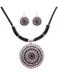 Yazilind Declaración vendimia de plata tibetana Ronda babero colgante collar de la flor pendientes establecidas