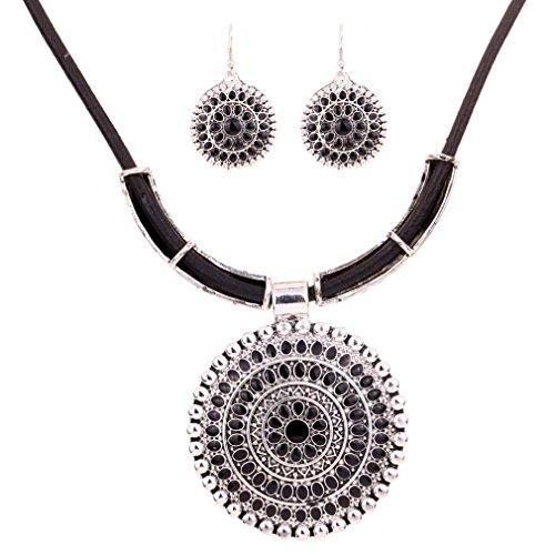 Yazilind Weinlese PU- Leder-Kette tibetischen Silber Runde Anhanger Bib Halskette Ohrringe Set Hochzeit (Schwarz) - Zoll Computer 20 Monitor