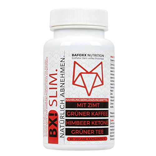 BX! SLIM - NATÜRLICH ABNEHMEN - Stoffwechselkur mit Zimt Extrakt, Grüner Kaffee, Himbeer Ketone, Grüntee und Coenzym Q10 - Vegan (60 Kapseln)