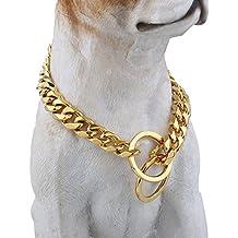 Trendsmax 13 mm de ancho de corte dorado Curb cubana Enlace acero inoxidable 316L del estrangulador collar de perro cadena personalizada Tamano 12-30 pulgadas