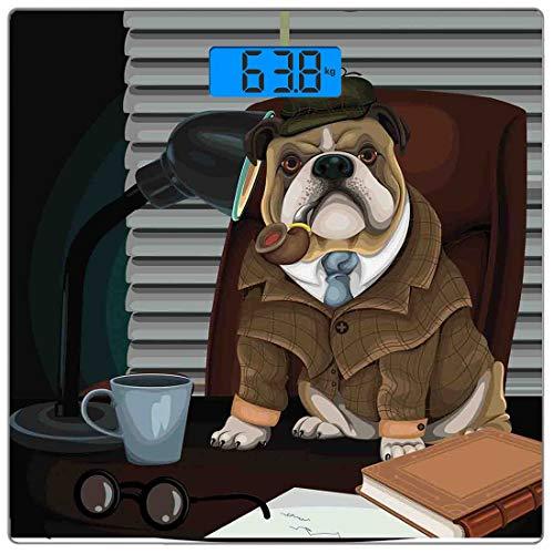 Präzisions-Digital-Körpergewichtswaage Englische Bulldogge Ultradünne Personenwaage aus gehärtetem Glas Genaue Gewichtsmessungen, traditioneller englischer Detektivhund mit Pfeife und Hut Sherlock Hol (Und Holmes Sherlock Hut Pfeife)