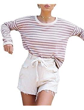 Gavemenget Mujer Casual Cuello Redondo Camisetas de Manga Larga Tops Blusa Sweatshirt Moda Rayas Blouses T Shirt...