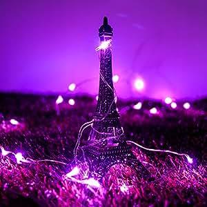 CrazyFire 30 LED Guirlande Lumineuses en Cuivre à AA Piles avec 3M en Fil Pliables pour Jardin et l'Extérieur des Projets de Décoration de Mariage, Fête, Noël, Halloween ou pour Chambre Bébé, Vélo, Guinguette(30 LED Rose)