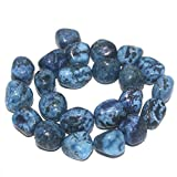 #7: Beadsnfashion Jewellery Making Tumbled Blue Diy Tree Agate Stone Beads 22-16 mm 1 String Pack of 16 Inches