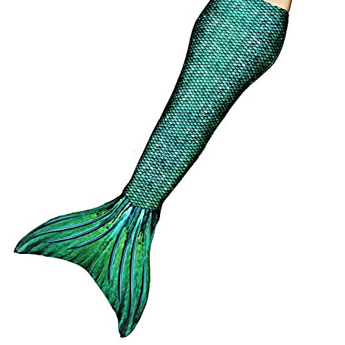SUN TAILS Meerjungfrauenflossen Kostüm Sirene Green für Kinder Jugendliche und Erwachsene zum Schwimmen JM