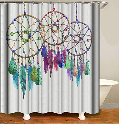 CaknQizawyy 3 Hermoso atrapasueños Hermosas Plumas de Colores y Cuentas sobre Fondo Gris Cortina de Ducha Desmontable HD Resistente al Agua y al Medio Ambiente
