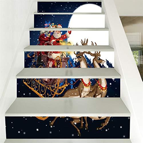 CRITY Treppenaufkleber, Weihnachten 3D Aufkleber Weihnachtsschneemann Wasserdicht Wandaufkleber Selbstklebend DIY Hintergrundbild Zuhause Dekoration Lieferungen (I)