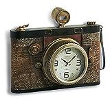 miaVILLA Wanduhr Vintage Kamera - Shabby Chic - Metall - Braun - ca. B42 x T14 x H35 cm