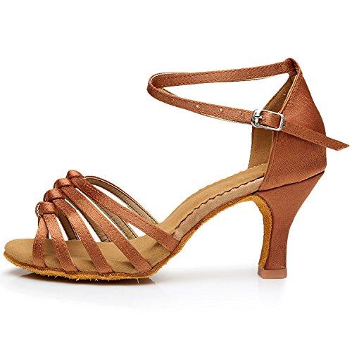 Oasap Women's Peep Toe Cross Strap Latin Party Dance Shoes Deep Brown