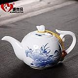 Keramik Teekanne Kettle e Aus Keramik Blauer Und Weißer Pu'Er-Topffilter Hoher Weißer Keramik-Teesatz Reise-Teekanne Aus Porzellan Teekanne Kung Fu-Teeschale 300Ml, Aa