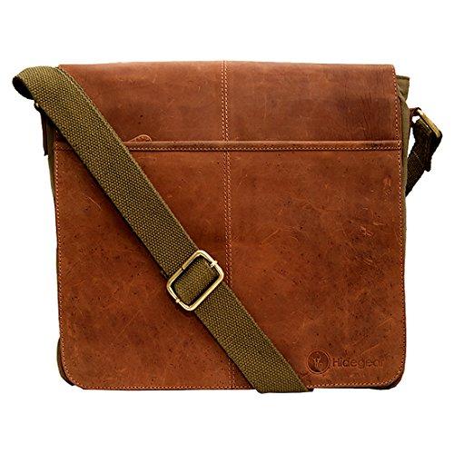 Hidegear Leather 31.8 cms Tan Olive Messenger Bag  HGOLMB0134