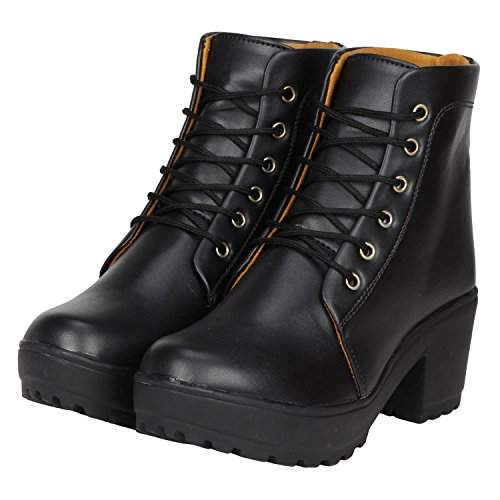 FASHIMO Women's Black Leather Ankle Length Boot - 36