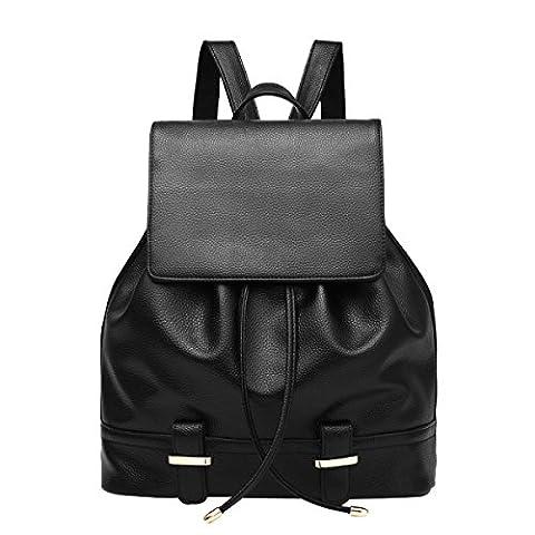 Frauen Schultertasche Student Bag Mode Rucksack,Black-OneSize (Pops Eimer)