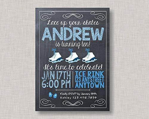 Zhaoshoping Einladung zum Schlittschuhlaufen/Schlittschuhlaufen/Geburtstagseinladung für Jungen/Jungen/Geburtstag/Eislauf-Einladung für Jungen/Holz Schild Basteln für Wohnzimmer Deko