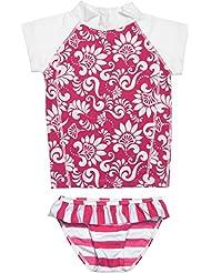 Snapper Rock chica UV UPF 50+ sol Protección Set de dos piezas camiseta de manga corta nadar y parte inferior Bañador para niños y adolescentes, niña, color Red/White, tamaño 1-2 years, 86-92cm