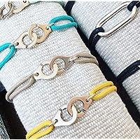 Bracelet menottes sur cordon - Couleur au choix - Taille ajustable