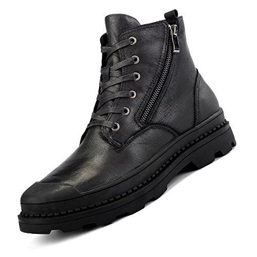 Preisvergleich Produktbild ByBetty Herren Leder Stiefeletten Winter Warme Stiefel High Top Arbeit Boot Lace Up Zip Schuh