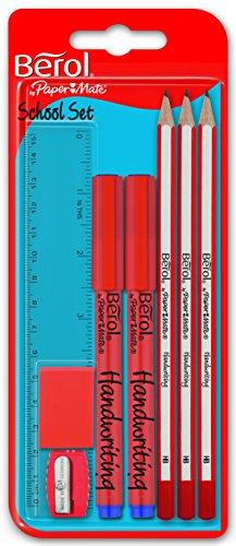 berol-school-set-3-pencils-2-pens-ruler-eraser-sharpener
