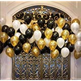Party Propz Pack Of 50 Black,Golden and White Latex Balloon For Balloons For Decoration / Birthday Balloons Decorations Items