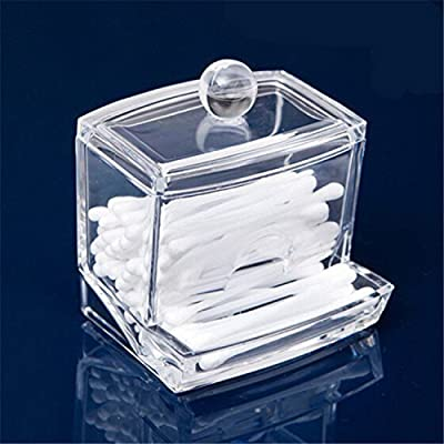 AcryliCase Clear Acrylic Swab Storage Case, Organizer For Cotton Swabs, Q-Tips, Make Up Pads, Cosmetics & More - For Bathroom & Vanity - low-cost UK light shop.