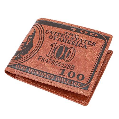 Lalang Herren US-Dollar-Schein-Geld-Mappen Lustige Faltbare PU Dollar Geldbörse Wallets (Dunkelbraun) (Lustige Geld-scheine)