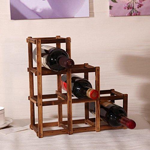 WXW Antike Farbe 6 Flaschen aus Holz Kreative Falten Weinregal Wein,Ein,32 * 12 * 32 cm an (Holz-möbel Antike Chinesische)