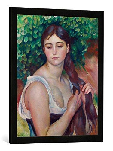 Gerahmtes Bild von Auguste Renoir Der Zopf, Kunstdruck im hochwertigen handgefertigten Bilder-Rahmen, 50x70 cm, Schwarz matt