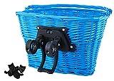 Iso Trade Fahrrad Weidenkorb Geflochten Abnehmbar Groß klick-System 5kg/10kg Traglast #2352, Farbe:Blau