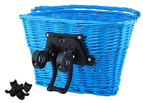 Iso Trade Fahrrad Weidenkorb Geflochten Abnehmbar Groß klick-System 5kg/10kg Traglast 2352, Farbe:Blau