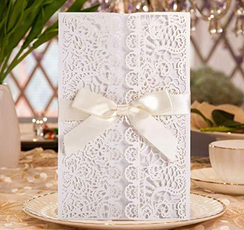 Hochzeit EinladungsKarten Glückwunsch Einladung Karten , 20 Stück DIKETE Elegante Blume Spitze 4 in 1 [ Hohle Hülse + leere Karte + Umschlag + Bowknot ]