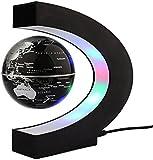 Newooe Floating Globe with LED Lights C Shape Magnetic Levitation Floating Globe World Map for Desk Decoration
