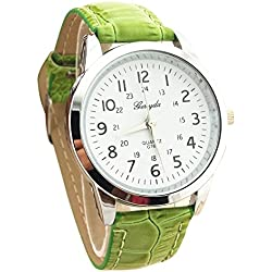 male Wrist Watch - Gerryda male Fashion digital Leather belt quartz Wrist Watch Green