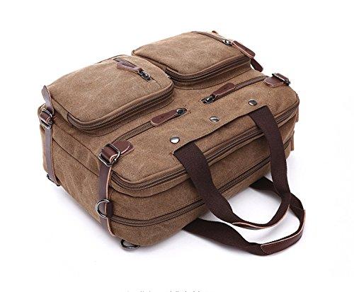 Herren Canvas Tasche Canvas Handtasche Schultertasche Ideal für Büro Canvas Rucksack Outdoor Kaffee