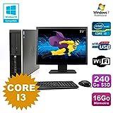 Pack PC HP Compaq 6200 Pro SFF Core i3 3.1GHz 16 GB 240Go DVD WIFI W7 + Bildschirm 22