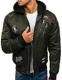 BOLF – veste bombers homme – avec capuche – Fermeture éclair – avec rustine – Homme 4D4