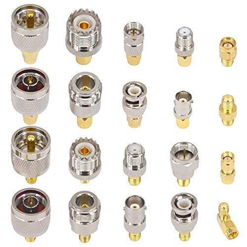YILIANDUO 20 Type Set HF Koax Adapter Kits SMA Buchse auf SMA/BNC/N-Typ/F/UHF Buchse Gerade Vergoldeter Vernickelter Erweiterungs Adapter ... (F-typ-adapter)