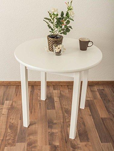 Tisch Kiefer massiv Vollholz weiß lackiert Junco 234B (rund) - Durchmesser 80 cm