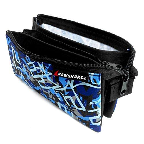 Estuche de lona de la marca Helix Rawsharc Urban de tres bolsillos, con estampado de camuflaje, color azul