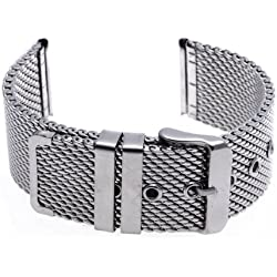 Watch Bracelet - SODIAL(R) 24 mm Unisex Grobnetz Steel Watch Bracelet Strap Bracelet + Buckle - Silver