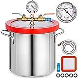 Mophorn Vakuumkammer 2 Gallon mit gehärtetem Glasdeckel zur Stabilisierung von Silikonen zur Holzentgasung Epoxid-Labortrockner 9L
