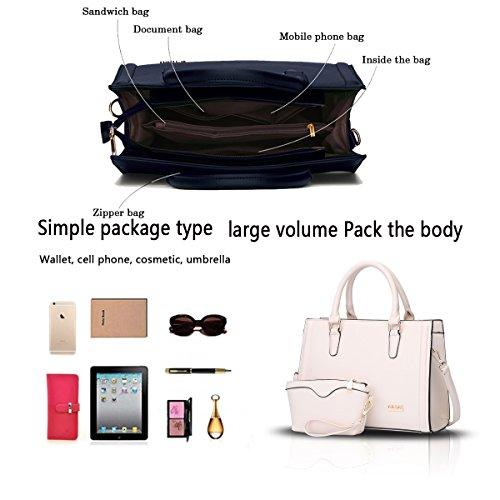 Sunas Sacchetto del messaggero + raccoglitore della spalla del sacchetto delle donne di due parti del braccialetto delle nuove donne della borsa Bianco sporco