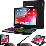 iPad Pro 11 2018 Keyboard, Snugg [Black] Wireless Backlit Bluetooth Keyboard Case Cover