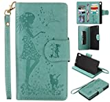 Sony Xperia XA Ultra Case Leather [Cash and 9 Card Slots], Cozy Hut Elegant Woman and cat Patterned Embossing PU Leather Stand Function Protective Cases Covers with Card Slot Holder Wallet Book Design Fordable Strap Case for Sony Xperia XA Ultra/F3211 6.0 Inch - green
