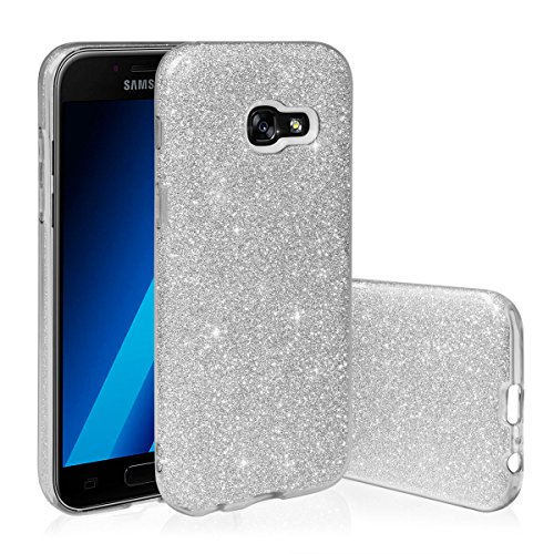 EGO ® Glitzer Schutzhülle für Samsung A510 Galaxy A5 2016, Silber Back Case Bumper Glänzend Transparente TPU Bling Weiche Glamour Handy Cover Lipgloss Silber + Glas