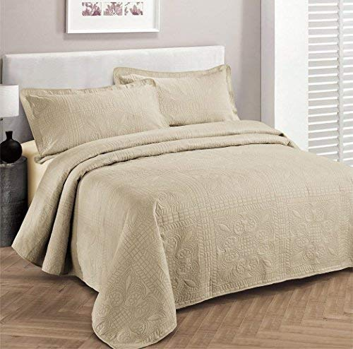 Linen Plus Bettwäsche-Set für King-Size-Betten/California King Size, 3-teilig, einfarbig, Beige - California King-size-bett Bettdecken