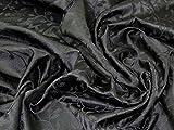 Minerva Crafts Brokatstoff mit Blättern, gewebt, Schwarz -