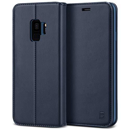 BEZ® Hülle für Samsung Galaxy S9 Hülle, Premium Handyhülle Kompatibel für Samsung Galaxy S9, Tasche Case Schutzhüllen aus Klappetui mit Kreditkartenhaltern, Ständer, Magnetverschluss, Blau Marine -